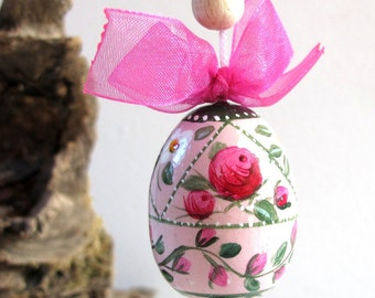 Hand-painted wooden egg-Easter decoration-hanging-collectible-with wire and Bell
