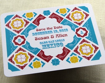 Mexican Save the Date Postcard - Mexico Talavera Tile - Wedding Destination - Color and Font Options