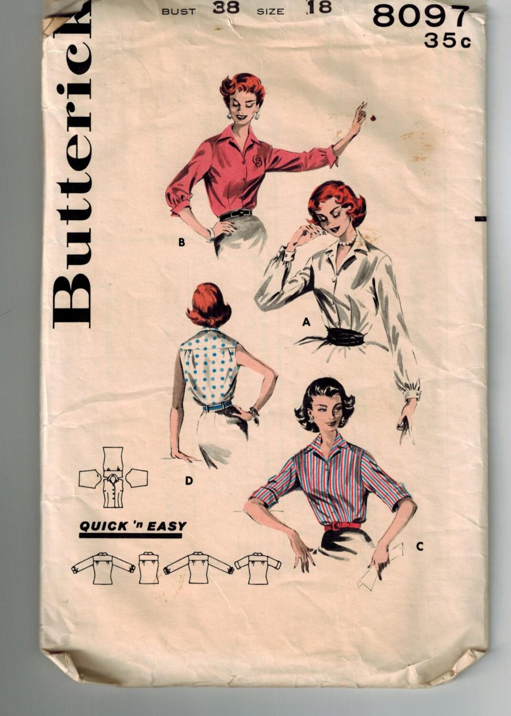 Vintage 50er Jahre Mitte Jahrhundert Misses Hemd Schnittmuster, die ...