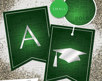 Small Green & Silver 2018 Printable Banner     All Letters 0-9 numbers   Graduation, Birthday, Congratulations, Anniversary