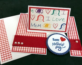 """Mother's Day """"Impossible"""" Card - Love Mom Impossible, Red Gingham, Blue"""