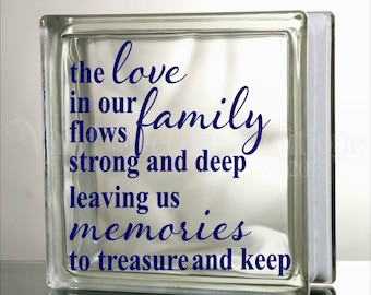 the love in our family Glass Block Decal Tile Mirrors DIY Decal for Glass Blocks the love in our family