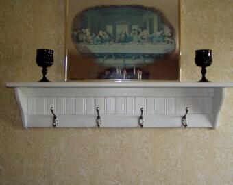"Wood Coat rack  Wall Shelf with satin Chrome Hooks 30"""