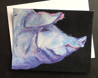 Lavender Pig Profile Single Note Card from Original Oil Painting