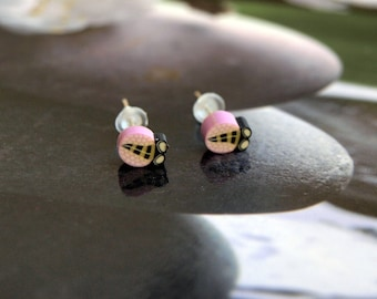 Earrings insect jewelry pink ladybugs