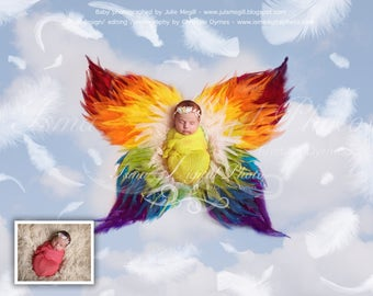 Rainbow Feather Butterfly - Digital backdrop Newborn Photography Prop download -  psd file with Layers