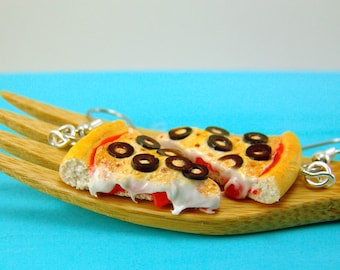 Pizza Earrings // Food Jewelry MADE TO ORDER // Olive Pizza Earrings // Food Earrings