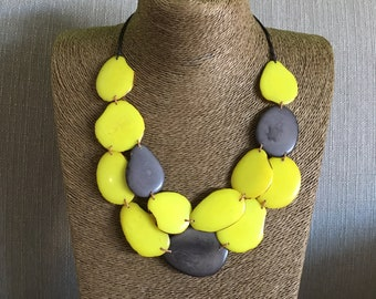 Yellow Tagua Nut Necklace / Tagua Statement Necklace / Eco jewelry / Yellow Tagua Necklace
