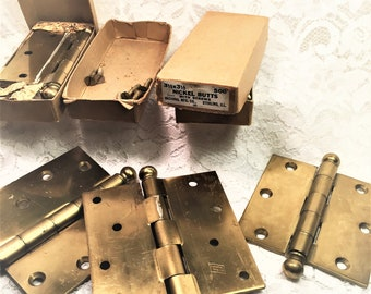 Brass Door Hinges, Two Sizes, Butt Hinges, Ball Tip Hinges, Salvaged Heavy Brass Coated Hinges, Hardware Salvage.