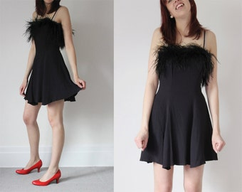 Vintage 80s 90s Black Ostrich FEATHER Crepe Fabric Spaghetti Strap Flirty Grunge LBD Circle Skirt Mini Dress - XS / S Small