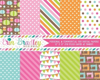 80% OFF SALE Sewing Room Digital Papers Polka Dots Stripes and Sewing Machine Patterns & Graphics Instant Download