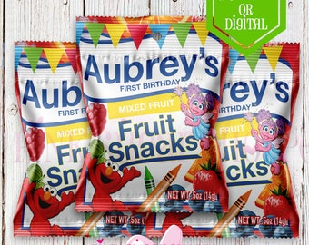 Sesame Street Fruit Snacks Favors - Fruit Snacks - Sesame Street Birthday Party - Sesame Street - Elmo Sesame Street- Candy Favors - Printed