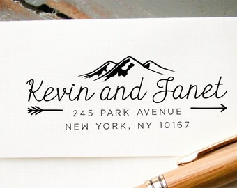 Self-Inking Stamp, Custom Address Stamp, Mountains and Arrows Custom Stamp, Personalized Stamp, Return Address Stamp: Housewarming, Wedding