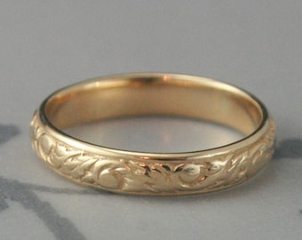 Yellow Gold Patterned Band--Going Baroque Band--Women's Wedding Band--Swirl Design Ring--Leaf Band--Cast Ring--Men's Wedding Band--Vine Ring