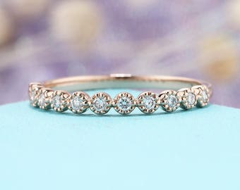 Rose gold Wedding band women diamond vintage Half eternity band Dainty Simple Delicate Stacking Bridal Promise gift Milgrain Matching band