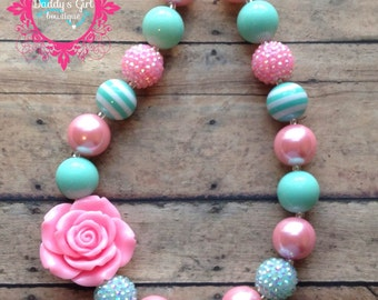 Pink and Mint Chunky Necklace-Pink Chunky Necklace-Mint Chunky Necklace- bubblegum necklace-Photo Prop- Pageant Necklace