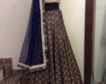 Navyblue and silver Bridal Lehenga choli - Indian Pakistani Wedding dress