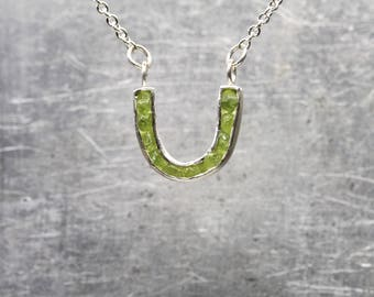 Horseshoe Necklace Tiny Raw Green Arizona Peridot Silver Good Luck Raw American Gemstone Crystals August Birthstone Gift Idea Her - Lucky U