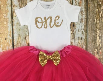First Birthday Outfit Girl, Birthday Tutu Outfit , Pink and Gold Birthday, Glitter Birthday, One, Cake Smash Outfit, Birthday Girl, One Outf