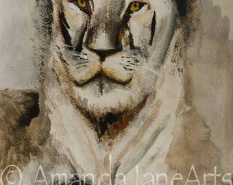 Lioness, painting, original picture, art, wattercolour, print