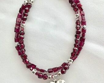 Double Garnet Gemstone Heart Charm Bracelet - Karen Hill Tribe Fine Silver .999 Heart Charm Bracelet