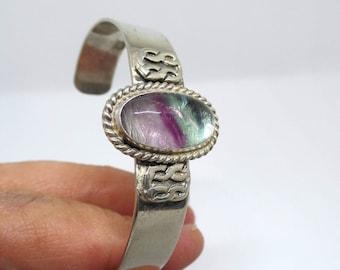 Fluorite Bracelet, Sterling Fluorite Cuff Bracelet, Sterling Silver 925, Healing Stone, Fluorite Jewelry, Colorful Gem, Cuff Bracelet, 1449