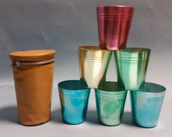 Vintage Set of 6 Aluminum Tumblers with Case