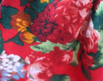 Vintage Ukrainian Festival Scarf For Women Scarves Flower Red Green Accessories Lightweight Colorful Floral Boho Evening Gypsy 1990s