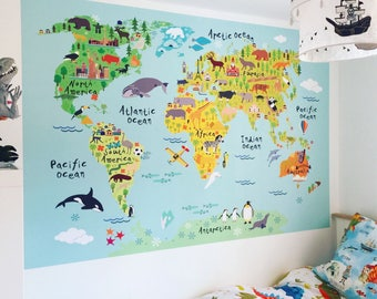 Kids world map etsy world map wall sticker for kids map of the world fabric wall graphic kids gumiabroncs Image collections