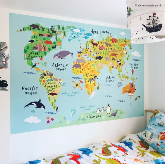 World map wall sticker for kids map of the world fabric wall gumiabroncs Images