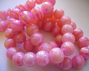 Glass Beads Pearlized Pink Round 10MM
