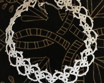 Necklace glass pearl beads and white cotton tatting lace