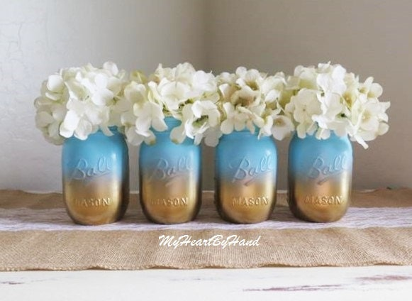 Baby shower mason jar set ombre jars blue and