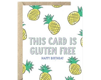 This Card is Gluten Free Happy Birthday, Funny Birthday Card, Birthday Card, Happy Birthday Card - 016C