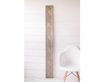 Weathered Wood Carved Growth Chart - Oversized Wooden Ruler - Growth Chart Ruler - Family Height chart - Baby Growth Chart