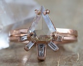 One of a Kind Champagne-Clear Geometric Rose Cut Diamond Ring