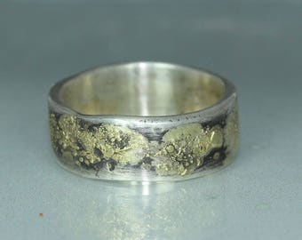A handmade  Gold Silver Wedding Band Organic Rustic Mans Wedding Textured Hammered Ring Unique Band