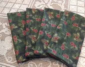 Set of Four Handmade Napkins, Pine Cone Napkins, Fabric Napkins, Cotton Napkins, Luncheon Napkins, Dinner Napkins, Cabin Decor Napkins