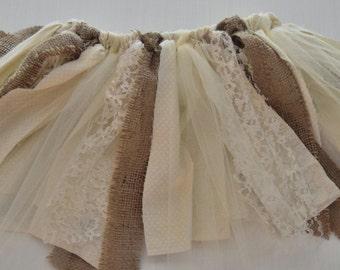 Burlap and lace tutu.Flower girl tutu.Rustic wedding.Ivory and burlap skirt.Fabric tutu.Birthday tutu.Smash cake.Tutu photo prop.Wedding.