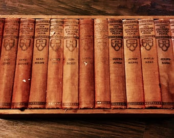 1931 Pocket Size Red Decorative Hard Cover Lot of (14) Funk & Wagnalls New Standard Vintage Encyclopedia's