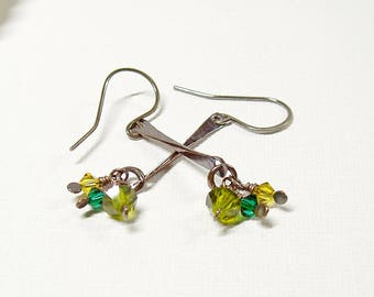 Green Crystal Drop Earrings, Oxidised Copper with Sterling Silver Ear Wires