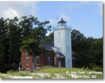 40 Mile Point Lighthouse magnet, photo magnets, lighthouse magnets, michigan lighthouse magnets, Rogers City MI