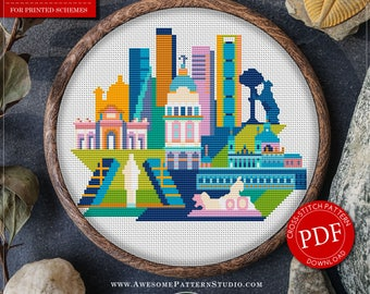 Madrid Cross Stitch Pattern for Instant Download *P155 | Easy Cross Stitch| Counted Cross Stitch|Embroidery Design| City Cross Stitch