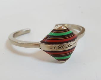 vintage Amazigh Berber Silver Bracelet with Ebony, Red Coral & Green Agate, from Morocco