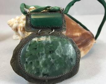 Necklace- Jasper and Aventurine, Upcycled Vintage Silverplate