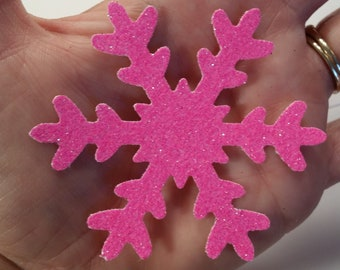 "Glittered Snowflakes, Xtra Large ~ Hand-Glittered 3"" Frozen Snowflake Confetti, Frozen Party, Wedding, Shower, Craft Supply, Photo Prop"