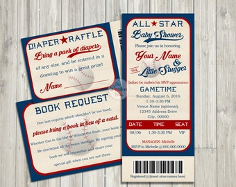 Vintage Baseball Ticket Baby Shower // DIGITAL INVITATION
