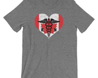Canadian Registered Nurse Flag T-Shirt, RN Nurse Caduceus Symbol Souvenir Tee Shirt, Caduceus In Canada Heart Logo Shirt Gift