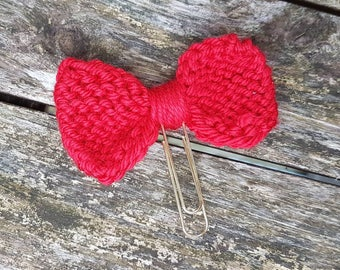 Knitted Bow Planner Clip, Ready to Ship, Red, Black Paperclip, Gold Paperclip, Planner Accessory