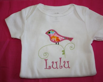 Girls Personalized Bird on a Vine onesie or tshirt